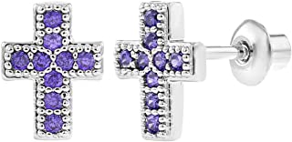 Rhodium Plated Small Purple CZ Safe Screw Back Baby Girl Cross Earrings