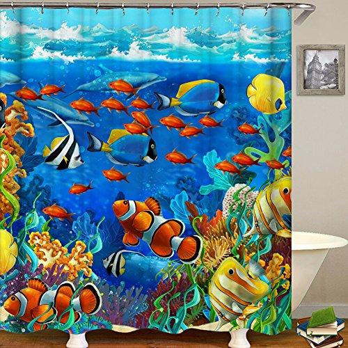 QCWN Duschvorhang mit tropischem Unterwasserwelt-Motiv, Korallenriff mit Fischen, wasserdichter Stoff, Badezimmer-Duschvorhang mit Haken, Polyester, 1, 70