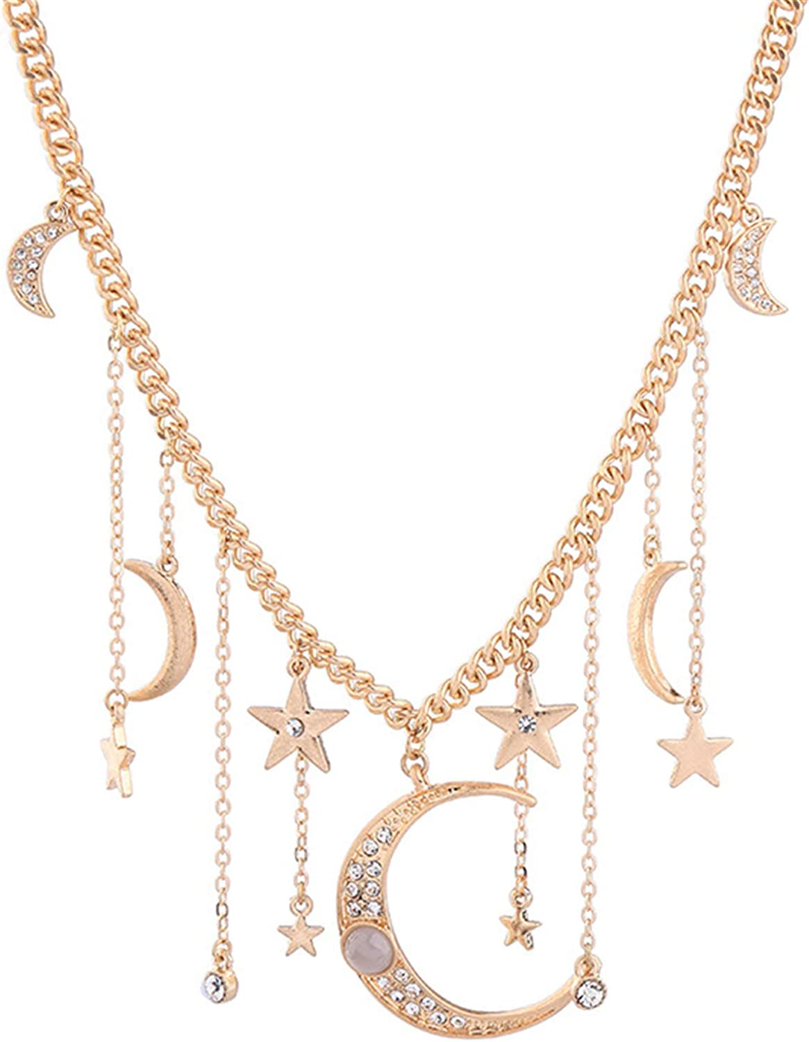 HMOOY Moon and Star Pendant Necklace, Fashion Gold Plated Retro Crystal Crescent Moon Star necklace Delicate Chain Necklace Accessories Jewelry for Women Girls
