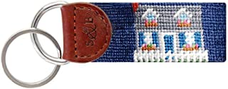 Beach Cottage Needlepoint Key Fob in Navy by Smathers & Branson