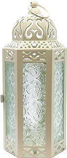 Vela Lanterns Mid-Size Table/Hanging Glass Hexagon Moroccan Candle Lantern Holders - Light Cream