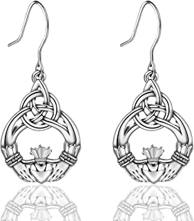 INFUSEU Sterling Silver Celtic Knot Earrings for Women Irish Good Luck Drop Dangle Hook Small Earrings