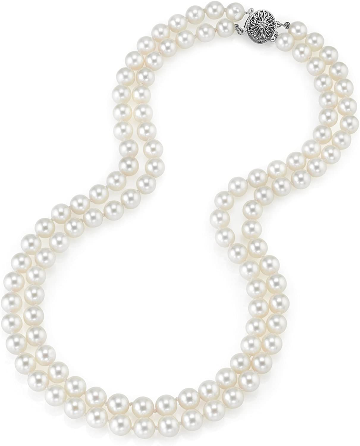 THE PEARL SOURCE 14K Gold Round Genuine White Double Japanese Akoya Saltwater Cultured Pearl Necklace in 16-17