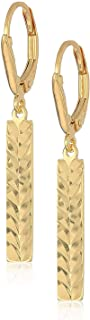 18k Yellow Gold Plated 925 Sterling Silver Geometric Pattern Vertical Bar Drop Earrings