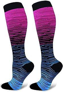 Men's Women's Compression Socks Gradient Knee High Athletic Running Socks 15-20mmHg Support Socks