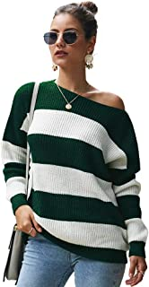 Women's Long Sleeve Striped Color Block Casual Loose Knitted Pullover Sweater Tops