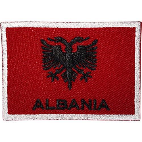 Albanien Flagge Patch Albanische gesticktes Badge Nähen auf Kleidung Jacke T Shirt Tasche