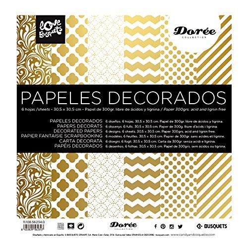 Busquets Papeles Decorados Scrapbooking Dorado 30,5x30,5