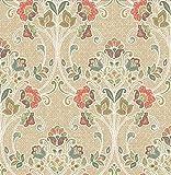 A-Street Prints 1014-001808 Willow Nouveau Floral Wallpaper, Coral