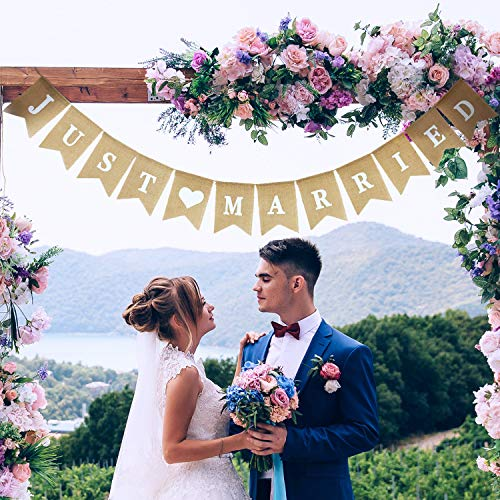 Just Married Banner Sackleinen Hochzeit Banner Herz Muster Romantische Hochzeit Dekoration für Hochzeit Brautdusche Engagement