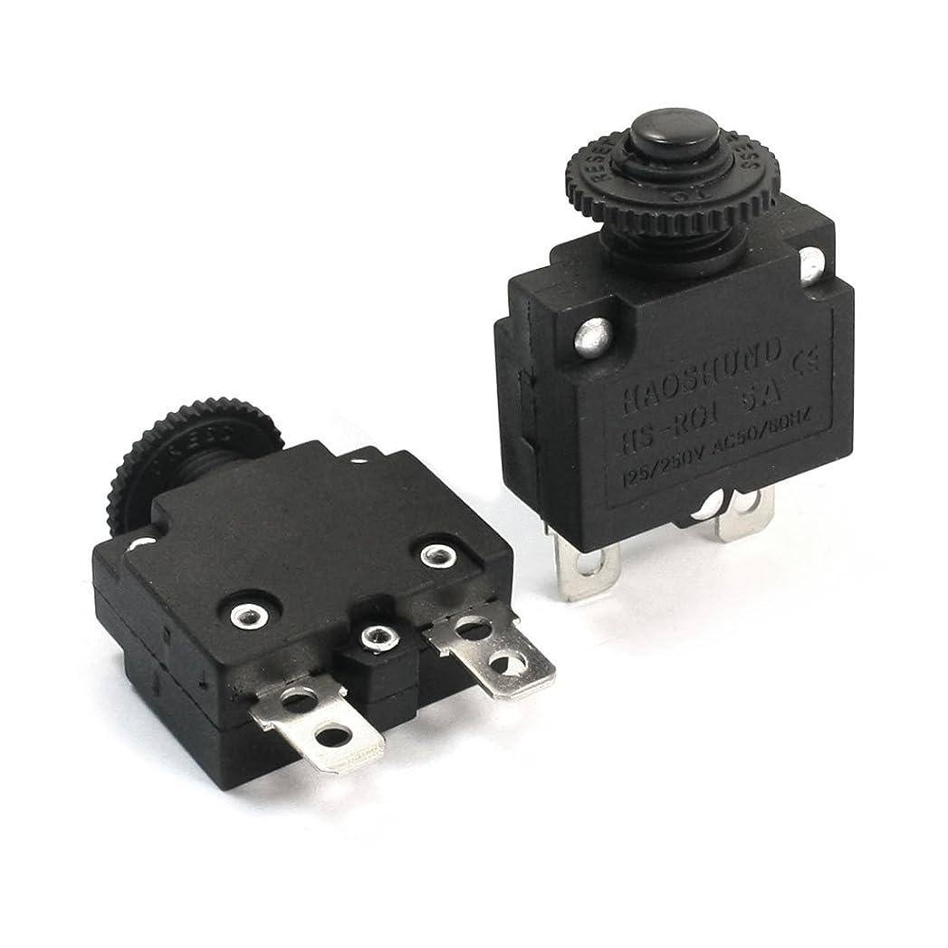 タイプ慢早くuxcell サーキットブレーカー プラスチック製メタル製ブラック プラスチックケース回路過負荷保護AC125V AC250V 5A