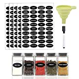 200 Printed Spice Labels Includes Waterproof 160 Spice Jar Label Stickers, 40 Blank Write-on Labels, 1 Chalk Marker Pen, 1 Silicone Collapsible Funnel to Pour Spices Into Jar by Hanindy.