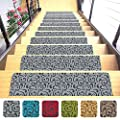 """Shape28 Stair Treads Ultra-Thin with Non Slip Rubber Backing 9""""x26"""", Gray 7 Pieces"""