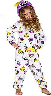Peace Love & Dreams Current Mood Girls Emoji Onesie Pajamas with Bonus Smiley Face Stuffy