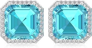 4.2Ct Blue Topaz Swiss Stud Earring, Asscher Shape Gemstone Statement Earring, IGI Certified Diamond Wedding Earring, IJ-SI Diamond Bridal Earrin, Screw Back