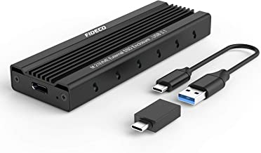 FIDECO M.2 NVME Carcaça Externa SSD, PCIe USB 3.1 Gen 2, 10 Gbps Adaptador, Caja Externa de SSD para M-Key & M+B Key NVME SSD 2230/2242/2260/2280