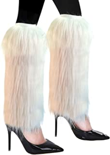 FHQHTH Fuzzy Faux Fur Leg Warmers Fur Heels Long Boots Cuff Cover has Elasticity One Pair