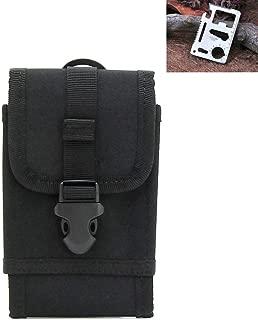 M0N0liTH サバゲー スマートフォン マルチ ポーチ MOLLE モール システム 対応 ウェスト ミリタリー 米軍用 iPhone 7 / 7 Plus / 6 Plus / 6s / 5S / 5C / 5 Xperia A2 / Z1f SONY Galaxy Nexus ガラケー など 5.5インチ対応 装備 スマホ 携帯 ( 多機能カード型マルチツール セット ) (ブラック)