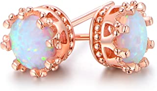 Barzel 18K Rose Gold Plated, White Gold Plated or Gold Plated Crown Created White Opal 7mm Stud Earrings