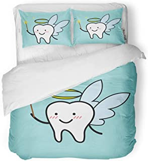 Adowyee Duvet Cover Set Queen/Full Size Smile of Cute Cartoon Tooth Fairy Wings Ache Anatomical Decorative 3 Piece Bedding Set with 2 Pillow Shams for Bedroom