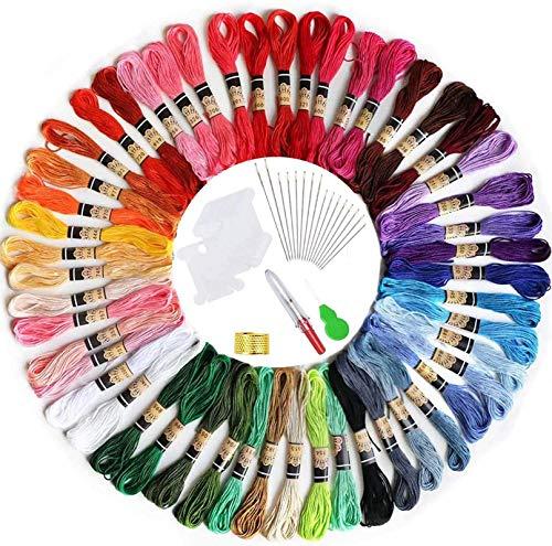 elloLife [50 Farben Stickgarn, Multifarben Sticken Garn mit 12 Spulen Organisator für Freundschaftsbänder Kit Stickerei Basteln Leisure Arts Kreuzstich Embroidery Threads Nähgarne Häkeln, 8m