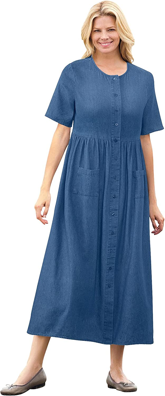 Woman Within Women's Plus Size Short-Sleeve Denim Dress