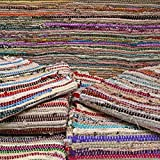 Rugs4U Tapis Chindi 100% Coton recyclé Rayures Multicolores sur Fond Blanc,...