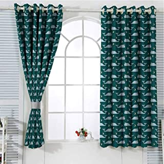 Grommet Window Curtain Blackout Curtain Whale Queen Size,Sleeping Kings of The Oceans in The Sky Among The Moon and Stars Nature,Teal Baby Blue Beige Drapes Panels 72 x 63 inch