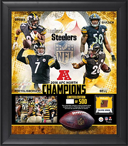 Pittsburgh Steelers Framed 15' x 17' 2016 AFC North Division Champions Collage with a Piece of Game-Used Football - NFL Team Plaques and Collages