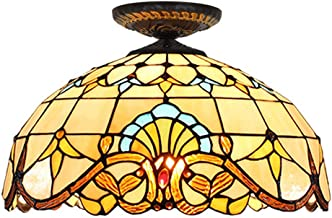 Tiffany Ceiling Fixture Lamp Semi Flush Mount 16 Inch Baroque Stained Glass Lampshade for Dinner Room Living Room Bedroom ...