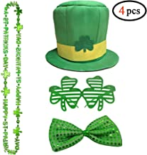 St. Patrick's Day Halloween Irish Costume Leprechaun Costume 4 Piece Set Party Accessories - Includes St. Patty's Day Leprechaun Hat, Shamrock Bead Necklaces, Bow Tie and Shamrock Shaped Glasses