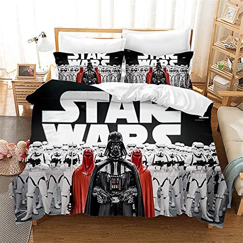 Bfrdollf Juego de funda de edredón y fundas de almohada de Star Wars con impresión 3D, microfibra, para adolescentes (220 x 240 cm)