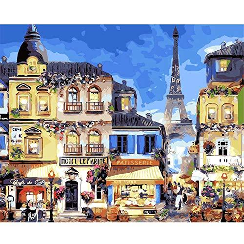 WFYY Foto Pintura al óleo sobre Lienzo Paris Romantic Hotel Night Viewdiy para niños Adultos Pintar por números Kits-Sin Marco 16X20 Inch