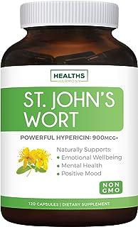 St. John's Wort - 120 Capsules (Non-GMO) Powerful 900mcg Hypericin - Saint Johns Wort Extract for Mood, Tincture & Mental ...