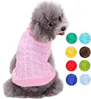 Small Dog Sweater - Warm Pet Sweater, Cute Knitted Classic Dog Coat, Doggie Unisex Sweater Clothes, Pet Dog Sweatshirt Apparel for Small Dog Puppy Kitten Cat (9 Colors Available)