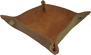 Hide & Drink Leather Catchall Change Key Wallet Coin Box Tray Storage Valet Handmade Toffee Suede