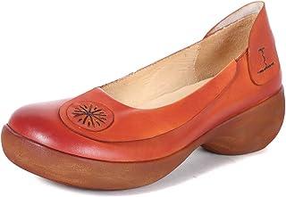 [Maysky] 春夏 パンプス エッグソール バナナヒール エレガンス 5.5cmヒール ウェッジソール 本革 厚底 4E 太陽マック 歩きやすい 履きやすい 疲れにくい 婦人靴 レディース ウォーキングシューズ