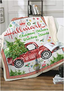 This is Hallmark Christmas Movies Watching Blanket Red Truck Xmas Trees Graphic Throw Blanket for Couch Bed Soft Microfiber Blanket for Holiday (Mixed Colours, 55x59 Inches)