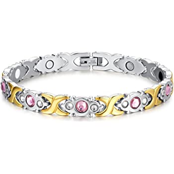 Shoguu Donna Titanio braccialetto magnetico, sano terapia Elegante polsino del Wristband di sollievo dal dolore Oro