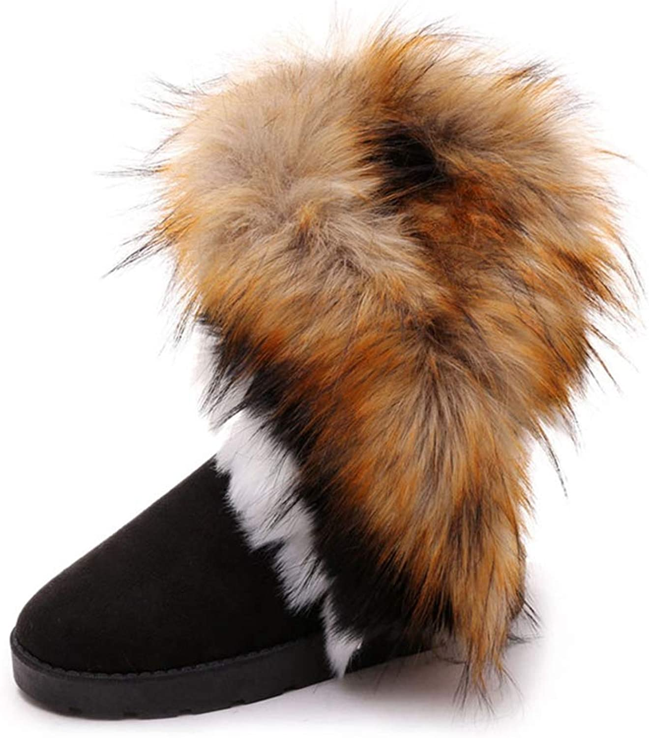 JOYBI Women's Faux Suede Snow Boots Fur Lined Comfortable Round Toe Slip-On Casual Winter Ankle Booties