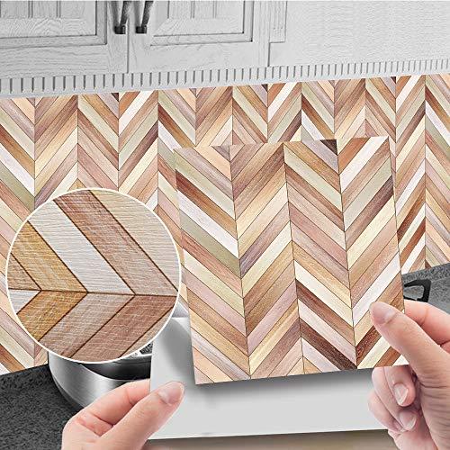 Etiqueta de la pared de azulejos de imitación de madera, murales de PVC, azulejos de pared, decoración autoadhesiva desmontable, cocina, baño, 10 cm * 10 cm, 20 piezas JHXC064