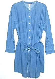 Eileen Fisher Blue Star Denim Mandarin Collar Belted Shirt Dress Size XL