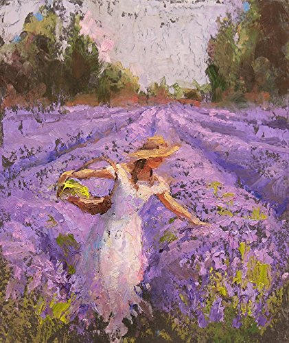 Lavender Field and Woman Landscape Art Print - Field of Purple Flowers Décor Artwork - Floral Painting by Karen Whitworth