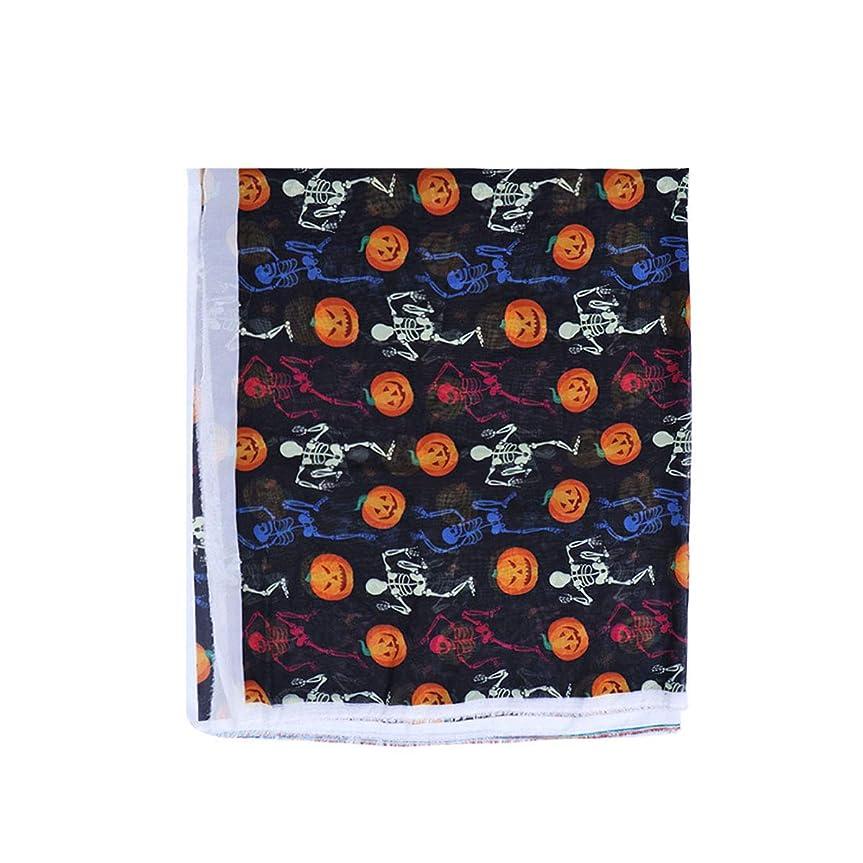 りんご歌同じHealifty ハロウィーンのシフォンファブリックカボチャの頭蓋骨印刷布材料DIY服のドレスクラフト装飾アートプロジェクト
