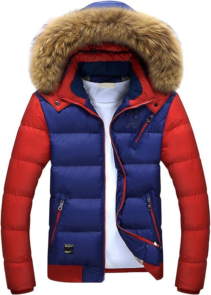 Chickle Men's Detachable Fur Hoodie Front Zip Thick Winter Coat