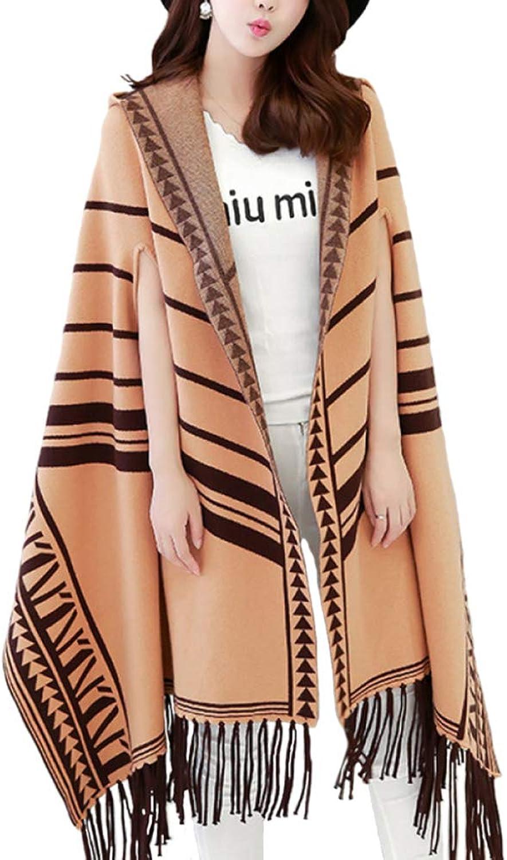LIULIFE Women's Shawl Cape Poncho Spring Autumn Large Size Loose Hooded Tassel Knit Cardigan Coat