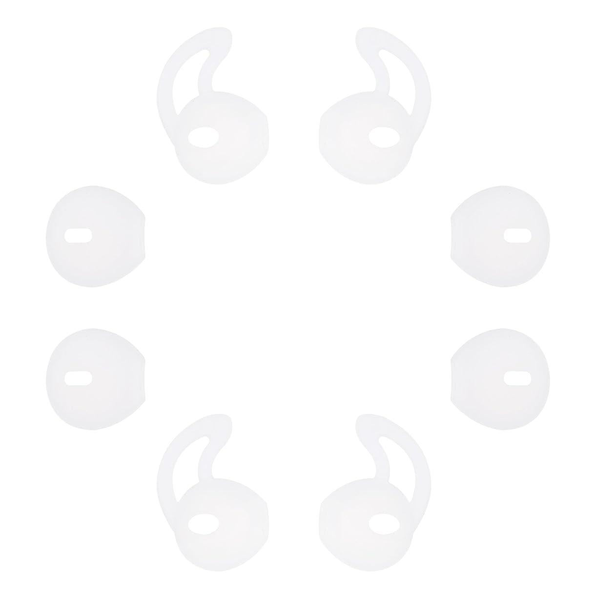 額塩辛い艦隊A-Focus イヤホンカバー イヤーピース EarPods EarPod 交換用シリコンカバー イヤーチップ 落ち防止イヤーフック型と極薄型それぞれ2ペア計4ペア 落下防止 落ち防止 フィット感向上 Apple EarPods専用 Airpods非対応 イヤホンパッド 8個4ペア入り 透明白い ClearWhite22