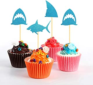 Hongkai 24PCS Glitter Shark Cake Cupcake Toppers Shark Fin Picks for Kids Baby First 1st Birthday Boy Girl Baby Shower Happy Birthday Shark Themed Party Decorations Supplies