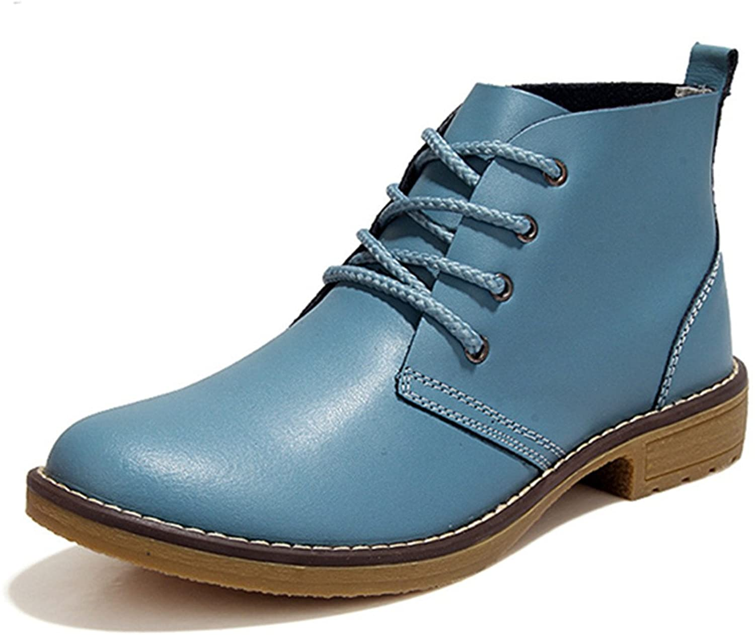 Gracosy Chukka Boot for Women, Female Faux Leather Lace Up Ankle Bootie Winter shoes Snow Booties