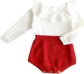 c9739e2a29c5 Urkutoba Baby Girls Romper Knitted Ruffle Long Sleeve Jumpsuit Baby Kids  Girl Romper Autumn Winter Casual